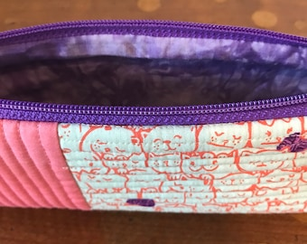 Coral Kitten Pencil Pouch - Purple Yarn - Quilted