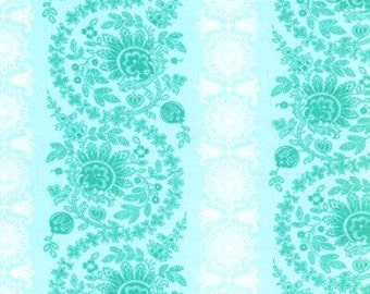1 Yard 4 Inches X 38 Inches - End of Bolt -Free Spirit Fabric-Jennifer Paganelli-Leann-Dance With Me JP27 - Teal 1 YD CUT