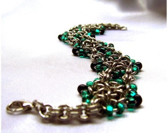 Elegant Chainmaille Bracelet with Green Beaded Flowers, flower jewelry, flower chainmaille, flower bracelet, green flower, sca jewelry