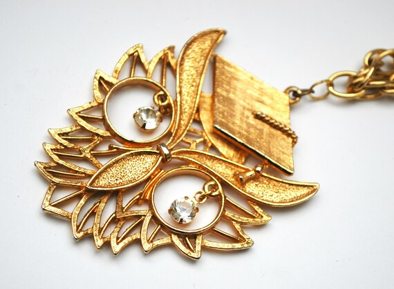 Wise Owl Necklace - Graduation  - Rhinestone - Gold Owl with graduation Cap - Vintage necklace Signed Rafaelian