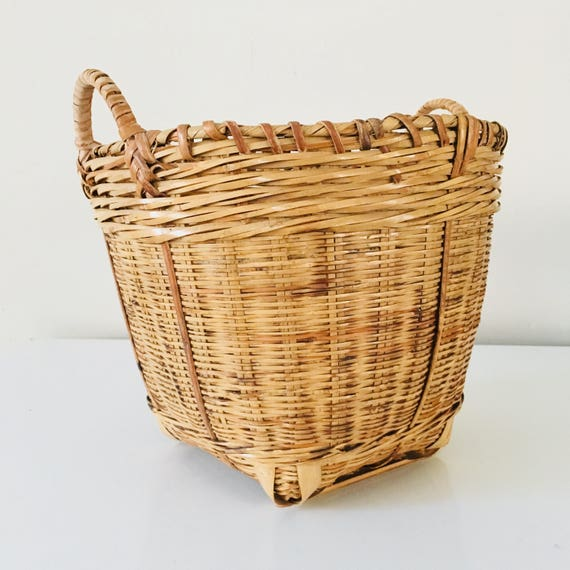 Vintage Woven Rattan Bamboo Basket Planter Rustic Woven Wicker Plant Holder