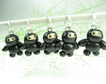 Ninja Knitting Stitch Markers, gift for knitters, ninja charms, knit, knitting accessories, black ninja, polymer clay, cute baby funny