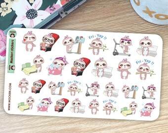 Sloth Functional Planner Stickers / Decorative Stickers / Useful diary stickers / 28 Stickers