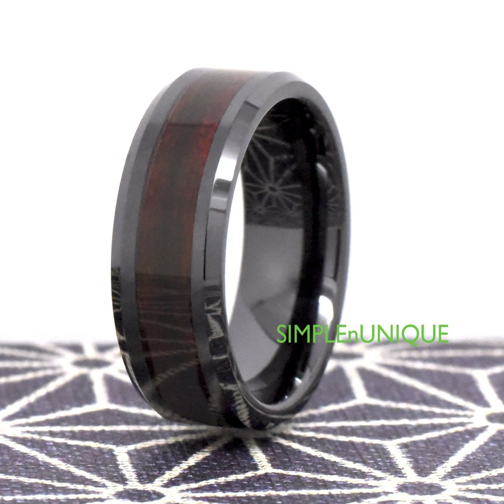 Mens Ceramic Wedding Band Mens Wedding Band Wood Promise