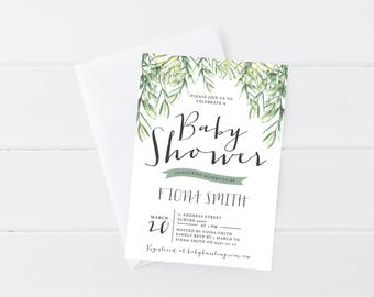 Watercolor Fern Baby Shower Invitation | Gender Neutral Invitation | Plant | Tropical | Nature | Printable Baby Shower Invitation