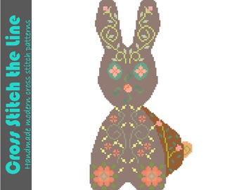 Delicate Boho rabbit cross stitch pattern. Modern embroidery chart. Contemporary design. Romantic bunny rabbit.