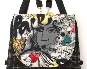 graffiti black bag, zipper bag, crossbody purse, black backpack, shoulder tote bag, sling bag, crossbody bag, fit ipad