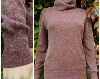 70s 80s ANGORA lambswool SOFT roll neck turtle neck jumper sweater mauve purple M