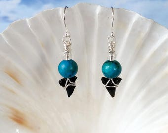 Shark tooth silver wire wrapped earrings, teal beads fossil beach earring