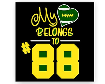 Football, Mom, My Hearts Belongs To, Numbers, Digital, Download, TShirt, Cut File, SVG, Iron on, Transfer