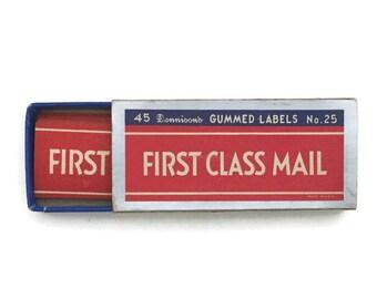 Vintage Dennison Box 39 First Class Mail Gummed Labels Paper Ephemera Collectible Scrapbooking