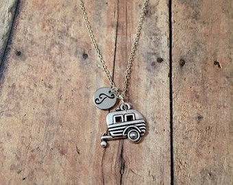 Camper initial necklace - RV necklace, camper jewelry, travel trailer necklace, gift for traveler, camping jewelry, silver camper necklace