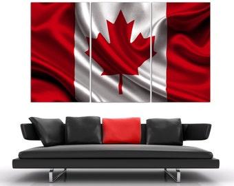 "3 Panel Split Art Canada Flag Canvas Print, World flag 1.5"" deep frames,Triptych, art for home/office wall decor & interior designwall art"