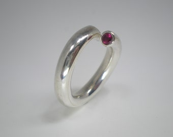 Silver Spiral Ring with a Red Crystal