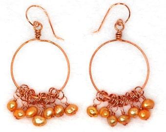 Apricot Pearl Copper Hoop Earrings | Freshwater Pearl Dangle Hoop Earrings | Bridesmaid | Prom | Casual | Office Jewelry | Gift for Her