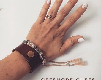 Tan Grunge Leather Cuff