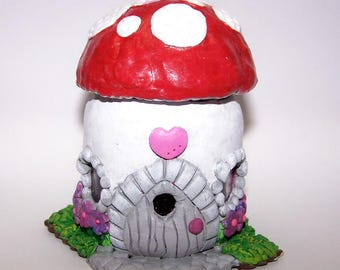 Home Decor, White, Red, Jar, Garden Decor, Free Shipping, Fairie House, Clay House, Garden, Decorated Jar, Candy Jar, Mushroom, Woodland,