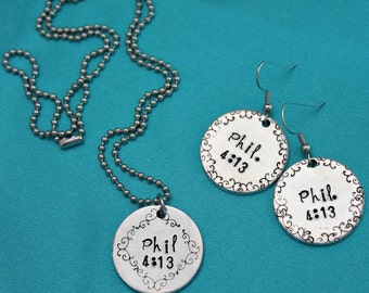 Phil 4:13 Customized Hand stamped Scripture Earring/Necklace Set