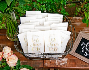 Kiss Cheer Toss - Wedding Exit Throw Bag  - Toss Rose Petals, Confetti, or Fall Leaves - Tall white paper bags - 20 White Bags included