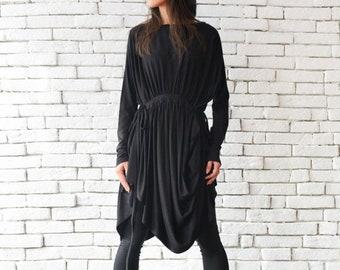 SALE Black Asymmetric Tunic/Extravagant Casual Top/Loose Maxi Top/Plus Size Shirt/Long Sleeve Black Top/Oversize Tunic Dress/Comfortable Top
