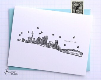 Auckland, New Zealand - Asia/Pacific - Instant Download Printable Art - City Skyline Series