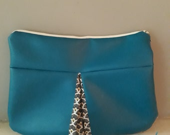 Clutch faux leather and fabric