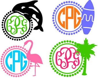 BEACH DECAL - Beach Monograms - Sand buckets, Toy Organizer, Personalized Umbrella