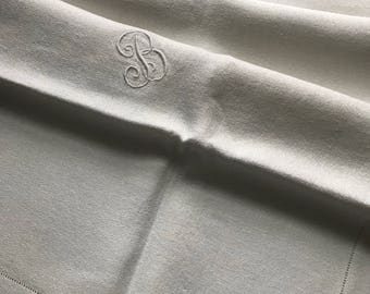 """Vintage/Antique Small Tablecloth~Heavy Irish Fine Linen~Satin Padded-Embroidery Initial Monogram """"B""""~White-on-White~Tea Cloth~Hemstitching"""