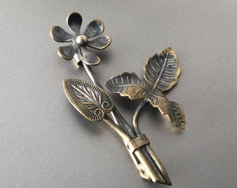 Victorian Brass Flower Brooch -