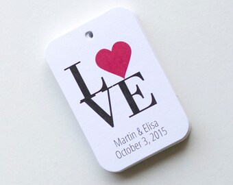 Love Tags, Love Favor Tags, Wedding Favor Tags, Small Wedding Favor Tags (RR-023)