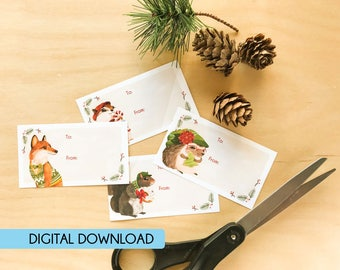 Digital Download Christmas Holiday Sticker Gift Tags, Woodland Forest Animals, Raccoon, Hedgehog, Mole, Mouse, Squirrel, Fox, Sparrow