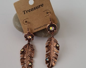 Metal Feather Shape Earring (Pair) metal looks like feather