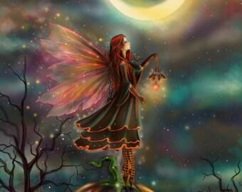 All Hallows' Eve - New Digital Painting by Molly Harrison Fantasy Art - Halloween Fairy Faerie Fairies