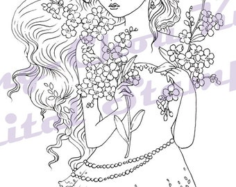 Forget Me Not - Digital Stamp Instant Download / Forget Me Not Flower Fantasy Fairy Girl by Ching-Chou Kuik