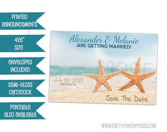 Starfish Save The Date Card - Beach Wedding Save The Dates - Beach Save the Date - Starfish Wedding Save the Date - Destination Wedding