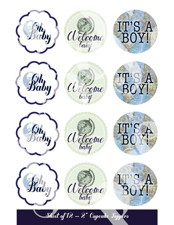 Cupcake toppers cupcake flags welcome to the world baby cupcake toppers cupcake flags welcome to the world baby shower printable baby boy shower around the world map travel world cupcakes sciox Images