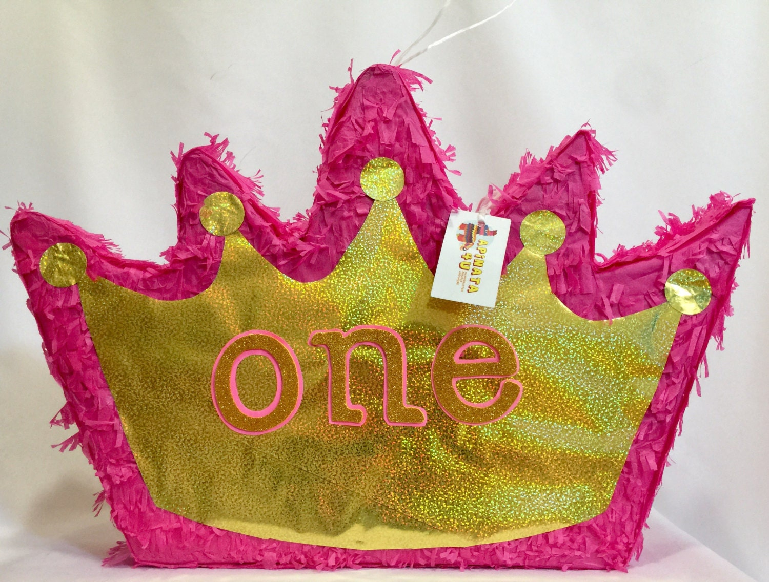 Pink & Gold Crown Pinata Pull Strings or Traditional ONE