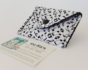 Music Notes Fabric Business Card Holder