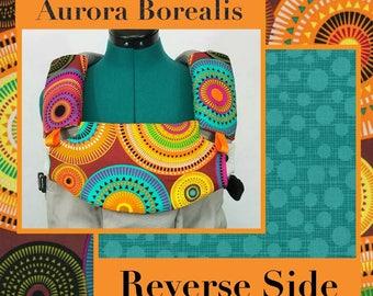 Pre-Order ** Aurora Borealis, Retro Circles Lillebaby Carrier Headrest Bib w/ Straight Drool Pads, Fully Reversible 3 Pc. Set