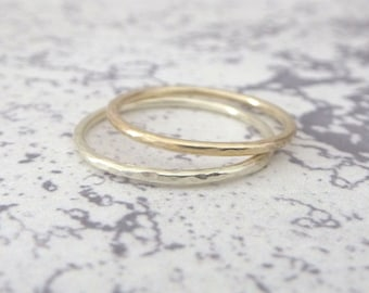 9ct Yellow Gold Wedding Ring - 1.2mm Slim Yellow Gold Band - Hammered or Smooth - Skinny Band Ring