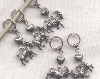 Goats knitting Stitch Markers Cashmere Mohair Flock of Goats Set of 5/SM193C
