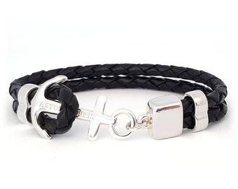 Handmade Anchor Bracelet Jade Black Leather Sterling Silver Plated Swedish Design