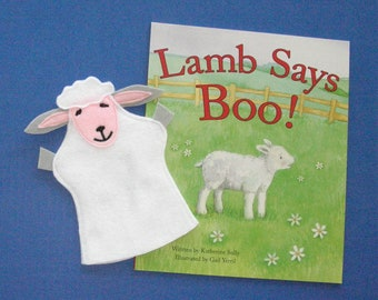 Lamb Hand Puppet and Book Set, Sheep Puppet and Book