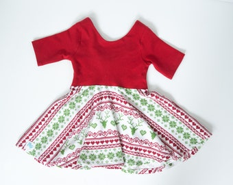Baby girl dress for Christmas - toddler Christmas dress - matching holiday outfit - red and green dress - girl Christmas outfit - fairisle