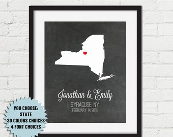 Personalized Bridal Shower Gift Custom Wedding Gift For Couples Newlywed Gifts Unique Wedding Gift Map Art Print