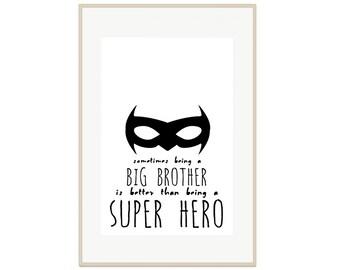 Big Brother Super Hero Print - Printable