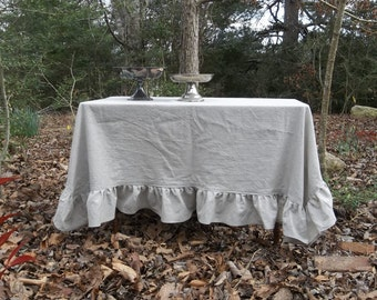 Linen Tablecloth with Ruffles Custom Ruffled Tablecloth Handmade Wedding Decorations Table Decor French Country Table cloth 70x70