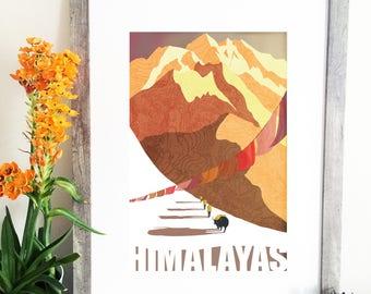 Himalayas Trekking Illustration - Himalayas Travel Poster