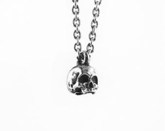 skull pendant necklace // sterling silver 925 necklace