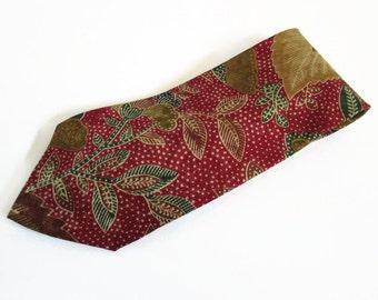 Vintage Mens Necktie, Anne Klein AKM, All Silk Fabric Hand Made in USA Fashion Accessory Flower Leaf Pattern Burgundy Gold Tan Father's Day